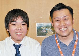 小島君(左)と担任の御園生コーチ