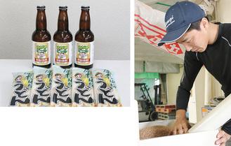 収穫した小麦を確認する吉岡さん(写真右)。商品化された「地粉うどん」と「ビール」