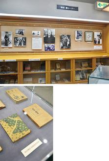 上・下/写真と作品で生涯を追う「ふるさとの文学コーナー」=厚木市立中央図書館2階