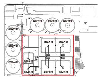 アユ中間育成施設の平面図。右下の赤で囲った部分が新設される水槽(同連合会提供資料を一部加工)