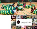 上)イモムシラグビーの様子/下)世界ゆるスポーツ協会HPの最初のページ
