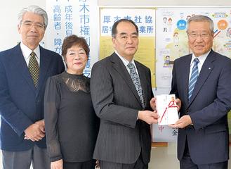左から田中さん、升本さん、六ケ村会長、前場会長
