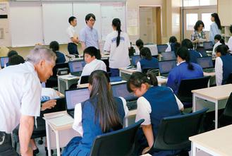 愛川中原中学校で行われたひのき教室の様子