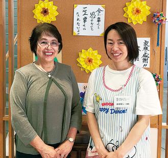「転職して良かった」と大橋さん(右)。小島操理事長とともに。自宅からも近く、家庭を守りながらやりがいのある仕事を得て充実の毎日だ