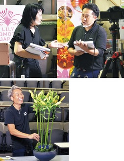▲軽快なトークで進行する斑目さん(左)と三浦さん◀独自の感性で作品を仕上げていく河野さん