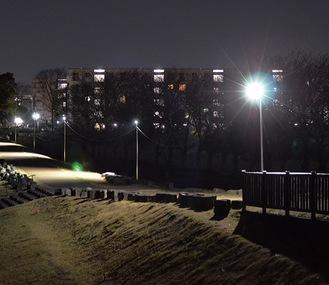 河川敷の遊歩道(厚木市岡田)に設置された照明