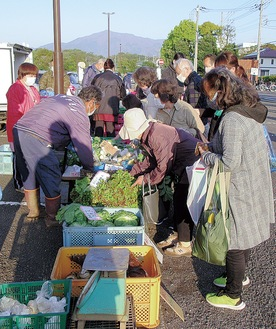 新鮮な厚木産野菜など買い物を楽しむ参加者