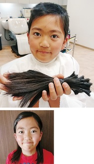 肩まで伸びた髪をカットし、束ねた髪を手にする菊池くん