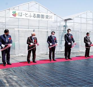 愛川町角田の「はーとふる農園愛川」でのテープカット。小野澤町長や馬場町議会議長など来賓も集い開所を祝った