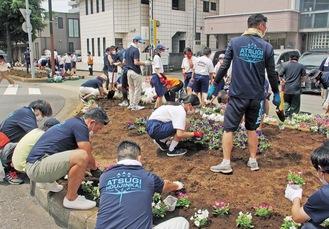 中町3丁目の花壇に花を植えるメンバー