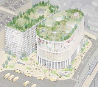 プロポーザルで提案された複合施設のイメージ=厚木市提供(プロポーザルは提案者を選定するものでこのイメージが設計案となるわけではない)