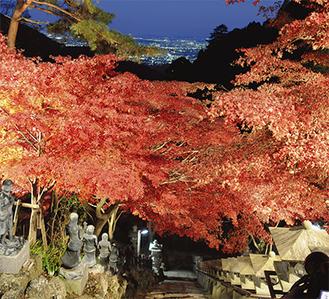 ロマンチックな雰囲気に包まれた大山寺の石畳