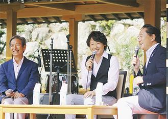 昨年のキックオフイベント。左から高山市長、河村さん、黒岩知事