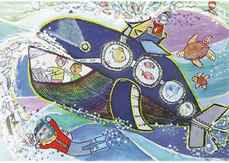 入賞作品「クジラロボット」と吉本涼真君