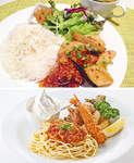 鶏と野菜のスイートチリ炒めプレート(上)、お子様プレート(下)