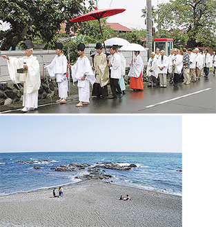昨年の浜砂撒きの様子(上)大磯照ヶ崎海岸