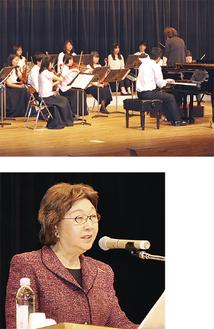 室内管弦楽団の演奏(上)/講話する加賀美氏