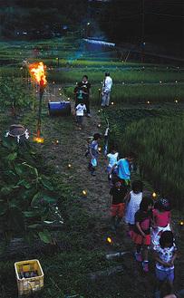 竹灯籠を谷戸田に灯す