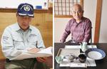 当時の資料を読む磯崎さん(左)/器を紹介する天野さん