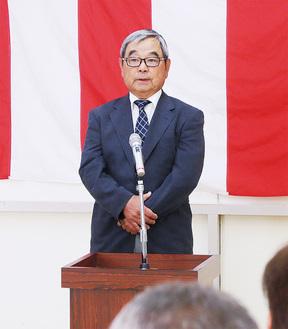 あいさつする生澤会長=成瀬コミュニティセンター
