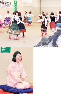 レクダンスの様子(上)/東海大生が落語を披露