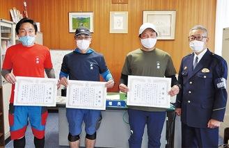 左から北樋口さん、板倉さん、八巻さん、小林署長