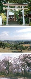 「三之宮比々多神社」(写真上)「三之宮比々多神社元宮からの眺望」(中央)「三嶋神社のしだれ桜」