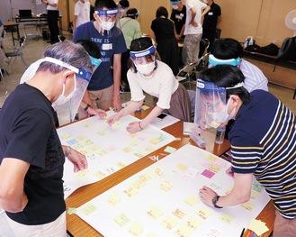マスクとフェイスシールドを着用し、感染症対策をしながら実施したグループワーク=7月11日、市民文化会館