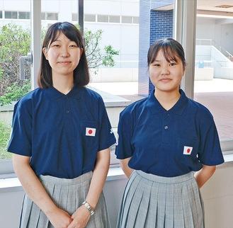 学校説明会で国連大使としての活動を報告した入野さん(左)と稲垣さん