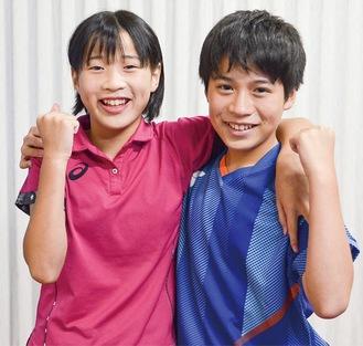 全国出場を決めた結空さん(右)と咲宙さん