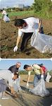 翌日の早朝には約40人のボランティアが打上げ場所周辺の清掃を行なった