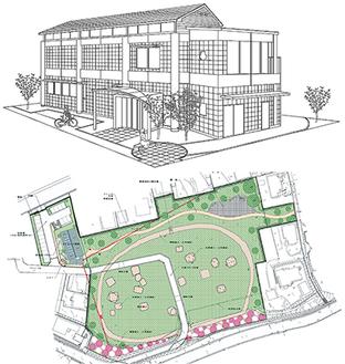 施設外観図(上)。見取り図(下)の左上部に建設される