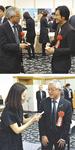 小泉監督や関さんと名刺交換する古塩市長