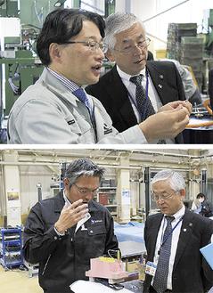 視察に訪れた市長に説明する水木社長(上)と高崎社長