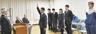 選手団による決意表明(宣誓は鎌田選手)
