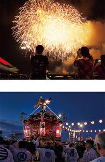 納涼祭の神輿と花火(昨年)