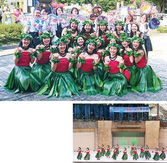 (上)大会後の綾瀬高校フラダンス部の生徒たち(右)ハワイアンズの舞台で踊りを披露する綾高の生徒たち=いずれも生徒提供