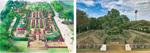 専門家が監修するバラ園の完成予想図(左)現在のバラ園(右)