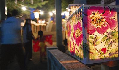 秋祭りに手作り灯篭