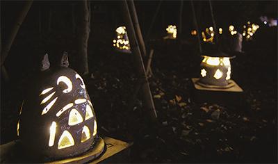 ソーラーパワーの手作り灯篭