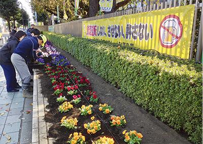 通りに花の彩(いろどり)