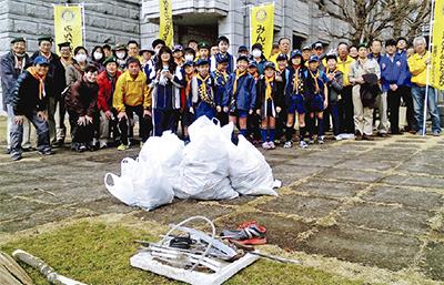 総勢80人が道路を清掃