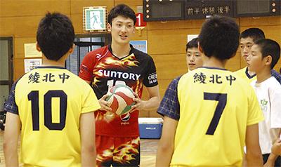 プロ招きサッカー教室 バレーボール選手が指導