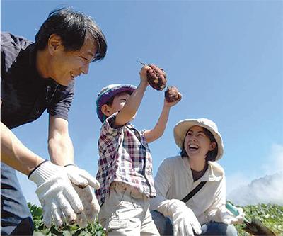 青空の下「お芋掘り」