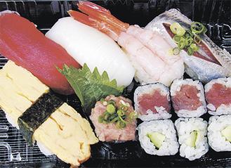 ▲日替わりのネタを心待ちにするファンも多いランチ寿司。これで390円とはお値打ちもの