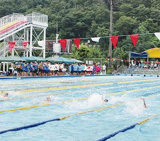 雨の中、懸命に泳ぐ選手たち