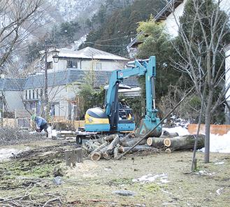 工事が進む水の郷プロムナード