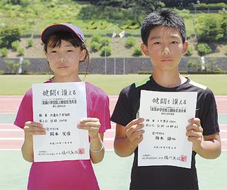 賞状を手にする岡本さん(左)と鈴木君(右)