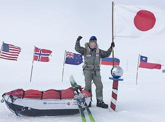 南極点に到達した荻田さん(撮影:荻田泰永)