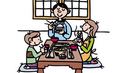 家族みんなで朝食を